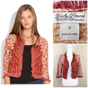 Lucky Brand Knit Open front fray cardigan Sz Sm
